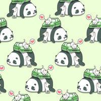 Gatos sem emenda do kawaii com o carro no teste padrão da panda gigante. vetor