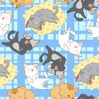 Gatos bonitos sem costura são padrão de dormir. vetor