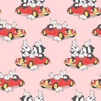 Família animal sem emenda e teste padrão vermelho do carro do vintage.