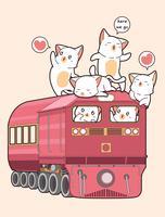 Gato Kawaii no trem vetor