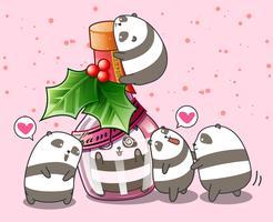 Panda kawaii na garrafa e amigos vetor