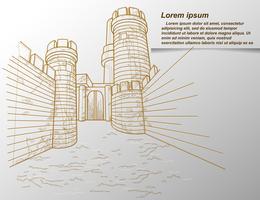 Esboço do contorno da fortaleza no estilo cartoon.