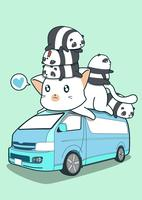 Gato gigante bonito e pandas na van azul. vetor