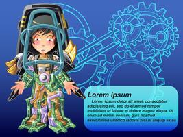Inteligência artificial em estilo cartoon. vetor