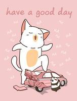 Gato gigante kawaii com um carro quebrado vetor