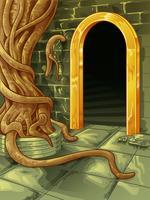 Vector a árvore grande na frente da entrada da caverna.
