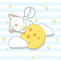 Gato kawaii está abraçando a lua em estilo cartoon.