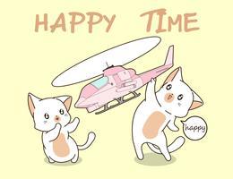 2 gatos kawaii estão jogando brinquedo de helicóptero. vetor