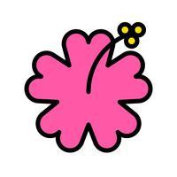 Vetor de hibisco, ícone de estilo preenchido relacionado tropical