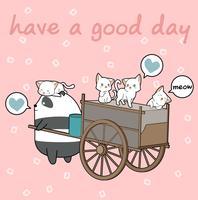 Gatos kawaii e panda com veículo de carga