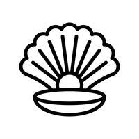 Concha com vetor de pérola, ícone de estilo de linha relacionada tropical