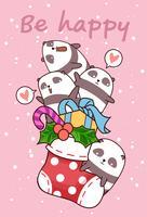 Pandas feliz Kawaii está em uma meia vetor