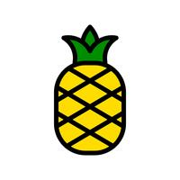 Vetor de abacaxi, ícone de estilo preenchido relacionado tropical