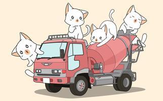 Gatos bonitos no caminhão misturador de cimento vetor