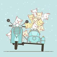 Gato e amigos tirados do cavaleiro do kawaii com motocicleta.