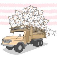 gatos kawaii desenhados no caminhão. vetor