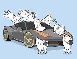 Gatos kawaii e auto carro. vetor