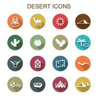 ícones de longa sombra de deserto vetor