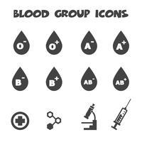 ícones do grupo sanguíneo vetor