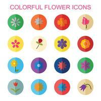 ícones coloridos de flor com sombra vetor