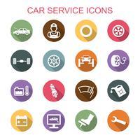 ícones de longa sombra de serviço de carro vetor