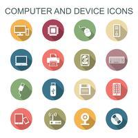 ícones de sombra longa de computador e dispositivo vetor