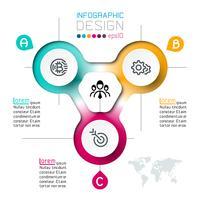 Três círculos com infográficos de ícone de negócios.