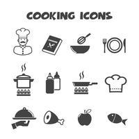 símbolo de ícones de cozinha vetor