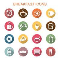 ícones de sombra longa de café da manhã vetor