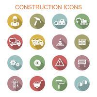 ícones de longa sombra de construção