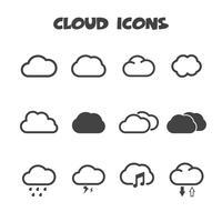símbolo de ícones de nuvem vetor