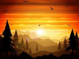 Crepúsculo absolutamente silencioso da floresta. vetor