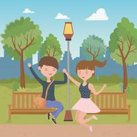 Projeto de desenhos de menino e menina adolescente vetor