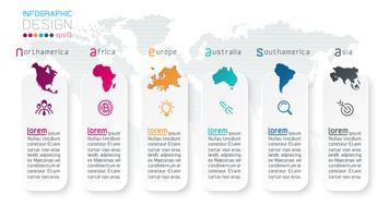 Informação continental do infographics na arte gráfica de vetor. vetor
