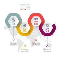 Etiqueta do hexágono com linha de cor ligada infográficos.