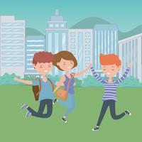 Meninos de adolescente e desenho de menina dos desenhos animados vetor