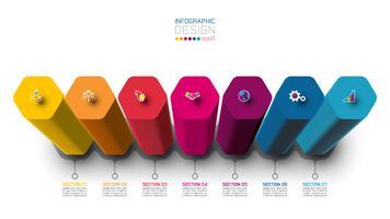 Projeto da etiqueta de Infographic do vetor com projeto das colunas do hexágono.
