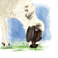 Entregue o animal do desenho na arte do vetor. vetor
