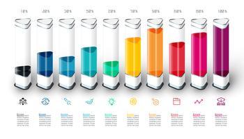 Infographics do gráfico de barras com parte 3d colorida.