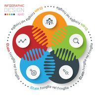 Cinco círculos com infográficos de ícone de negócios.