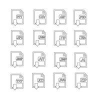 Conjunto de ícones de formato de arquivos vetor