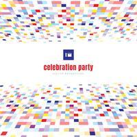 Partido colorido da celebração da cor da perspectiva abstrata do teste padrão dos quadrados no fundo branco.