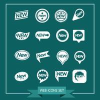 Conjunto de etiquetas novo ícone para site e comunicação vetor