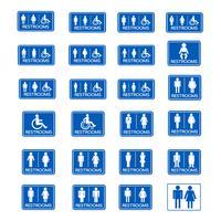Conjunto de ícones de sinal de banheiro vetor