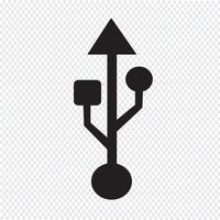 sinal de símbolo de ícone usb vetor