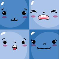 conjunto de emoções emoji enfrenta ícones de personagens
