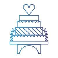 linha delicioso e doce bolo para celebrar o design vetor