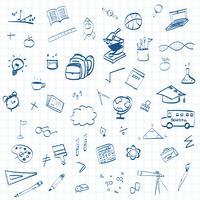 De volta à escola, fundo de conceito de educação com ícones de arte de linha e símbolos vetor