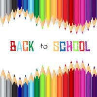 De volta à escola, fundo do conceito de educação com lápis de cor bonito vetor