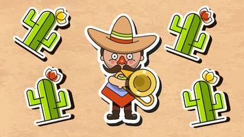 Ilustração vetorial de músico mexicano com roupas nativas de homens e vetor plana de Sombrero